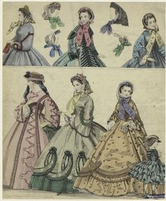 Women and a girl modeling hats and bonnets, England, 1850s