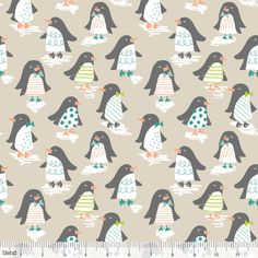 Snowday Penguin Parade Taupe by Maude Asbury by FabricWhimsyToo