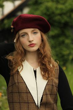 9cefa3d2 Highland Beret (Wine) – Miss Patina Looks Great, Beret, Jumper, Campaign