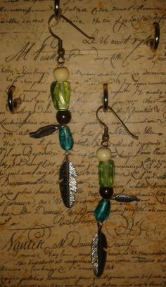 handmade glass feather earrings