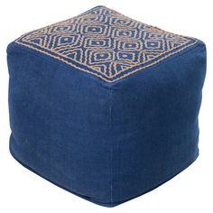 Woven Pouf, Navy, Camel Contemporary Style Cube - Home Accents Ottoman In Living Room, My Living Room, Living Room Furniture, Square Pouf, Ikat Pattern, Pouf Ottoman, Accent Furniture, Upscale Furniture, Bohemian Furniture