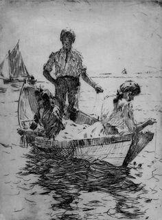 "Frank W. Benson - American (1862 - 1951). ""The Fishermen"". Etching, 1915"