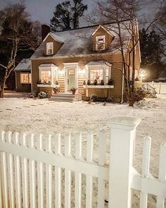 """The Cottage Journal on Instagram: """"Is there anything more charming than a cottage under a blanket of fresh snow? We think not 😍 (📷: @the_seasoned_home) #thecottagejournal…"""" Groves Street, Cottages And Bungalows, Little Cottages, Winter Images, Cottage Style Homes, Winter Night, Some Pictures, Curb Appeal, Exterior"""