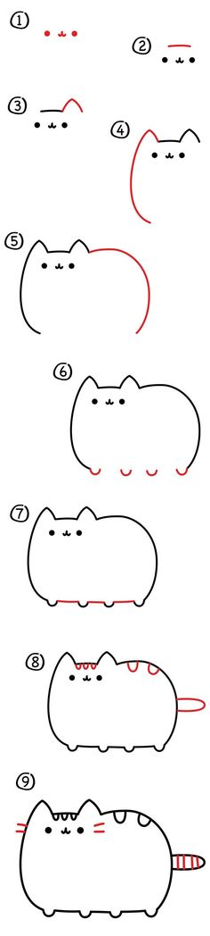 How to draw Pusheen the cat!!!!!!! #CatDibujo
