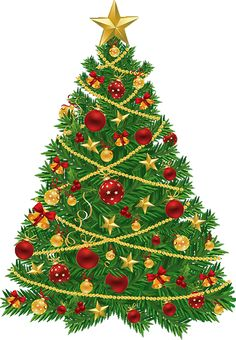 large transparent christmas tree with red and gold ornaments clipart - Christmas Transparent
