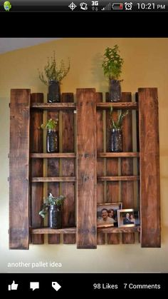 Pallet Wall Shelf - I'm thinking if you used 2 it would be a cool headboard.