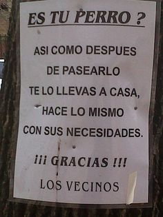 cartel sobre perros necesario en esta ciudad!!