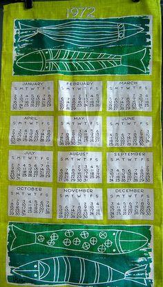 1972 Vera Tea Towel Calendar