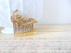 Clear Pave Crystal Rhinestone Gold Feather by Sparrowstation