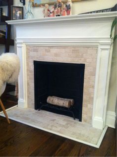 Fireplace Tile Pictures | Finito. Travertine Subway Tile Fireplace. @ DIY  House Remodel