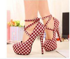 Women's Sexy Pumps lattice Vintage Red/Black Bottom Platform Strappy High Heels Party Shoes Women's Shoe Sizes
