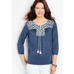 Talbots Women's Tie Front Embroidered Popover ($55) ❤ liked on Polyvore featuring tops, tunics, split neck tunic, embellished tunic, tie top, indian tops and side slit tunic