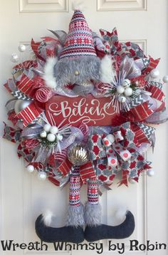 Winter Deco Mesh Bearded Elf Wreath with Believe Sign in Red, Silver & White, Christmas Wreath, Gnome Wreath, Holiday Wreath, Gnome Decor by WreathWhimsybyRobin on Etsy