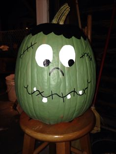 Frankenstein Painted Pumpkin More
