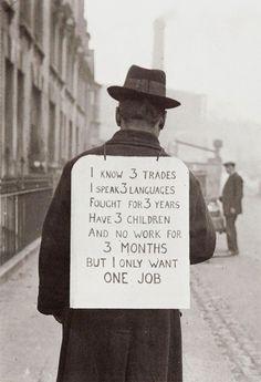 Un Américain cherche un travail durant la grande crise économique dans les années 1930