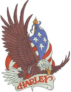 Harley Davidson eagle logo embroidery design 5. Machine embroidery design. www.embroideres.com