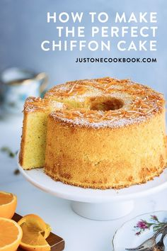 Baking a chiffon cake may seem daunting to some, but it's totally worth it once you master the basics of this favorite Japanese pastry. Here are some tips and techniques for making the perfect chiffon cake. Easy Japanese Recipes, Japanese Food, Japanese Style, Food Cakes, Orange Chiffon Cake, Lemon Chiffon Cake, Foto Pastel, Angel Food Cake, Elegant Cakes