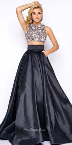 Mac Duggal Multi Cut Out Two Piece Floral Beaded Prom Dress