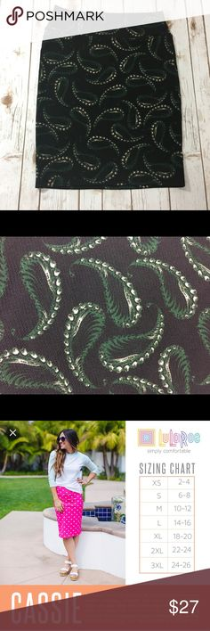 "EUC LLR ""Cassie"" pencil skirt, paisley print Excellent condition worn once. Black background. Other colors are green & cream. Stretchy material. LuLaRoe Skirts Pencil"