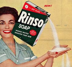 advertisements in 1950 | Rinso Blue Laundry Soap Ad circa Mid 1950s (Detail) , originally ...