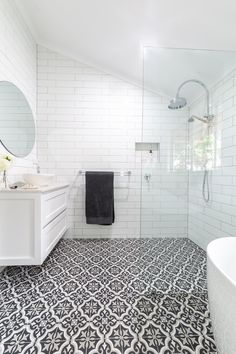 Modern traditional farmhouse bathroom renovation by Northern Rivers Bathroom Renovations in Lismore NSW White subway tile with grey grout and black and white patterned floor tile and walk in shower. White Tiles Grey Grout, White Bathroom Tiles, Bathroom Floor Tiles, Grey Bathrooms, Bathroom Wall Decor, Bathroom Colors, Tile Floor, Wall Tiles, Bathroom Cladding