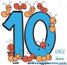 Fichas de números para niños. Número diez, 10. Preschool Education, Teaching Math, Birthday Clips, Numbers Preschool, Hand Puppets, Teaching Materials, Letters And Numbers, Fun Crafts, Kindergarten
