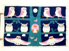 Vintage Tea Towel Owls Tree Full Moon Wall Hanging Decor Ulster Textile Rare by NeatoKeen on Etsy