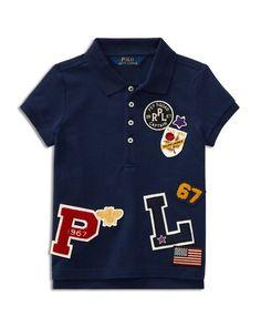 Polo Ralph Lauren Girls' Stretch Mesh Patch Polo Shirt - Little Kid - Newport Navy Baby Boy Shirts, Boys T Shirts, Mens Polo T Shirts, Polo Tees, Baby Polo, Polo Shirt Design, Polo Outfit, T Shirt Painting, Polo Ralph Lauren Kids