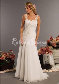 Robe de Mariée Avec Bretelles-A-Line/Princess sweetheart chapelle des robes de mariage train Charmeuse