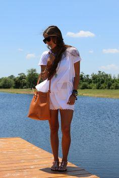 Love this look from Allegra Fanjul of www.veryallegra.com wearing our Tinseltown brand denim shorts