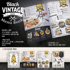 Black Vintage Menu Book Template PSD #design Download: http://graphicriver.net/item/black-vintage-menu-book/14044592?ref=ksioks