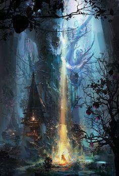 Ideas For Concept Art Fantasy Magic Beautiful Fantasy Art Landscapes, Fantasy Landscape, Landscape Art, World Of Fantasy, Fantasy Places, Fantasy Forest, Fantasy Concept Art, Fantasy Artwork, Environment Concept Art