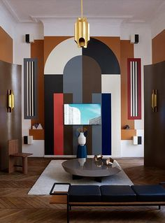 Modern take of art deco design. Same shapes and layering that happens in art deco with more colors and abstractness. Salon Art Deco, Casa Art Deco, Arte Art Deco, Art Deco Stil, Modern Art Deco, Art Deco Home, Art Deco Wall Art, Art Deco Decor, Modern Room