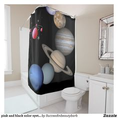 pink and black solor system shower curtain