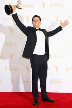 Joseph Gordon-Levitt poses in the press room during the 2014 Creative Arts Emmy Awards at Nokia Theatre L.A. Live in Los Angeles, on Aug. 16, 2014
