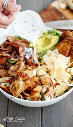 Skinny Chicken and Avocado Caesar Salad! With a healthy twist!