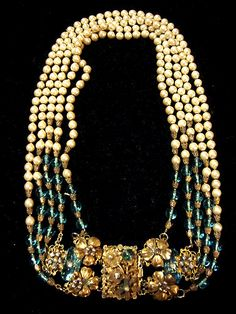 MIRIAM HASKELL DECO ERA, AQUA GLASS & PEARL NECKLACE available @PILGRIMNYC 70 ORCHARD ST. NYC