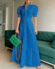 Types Of Dresses, Blue Dresses, Casual Dresses, Summer Dresses, Women's Fashion Dresses, Dress Outfits, Dress Shirts For Women, Clothes For Women, Fancy Dress Design