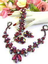 Breathtaking Regency Fuchsia Vintage Necklace Bracelet Earrings