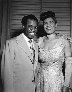 Louis Armstrong & Billie Holiday, Carnegie Hall New York, 1946 Jazz Artists, Jazz Musicians, Music Artists, Billie Holiday, Lady Sings The Blues, Vintage Black Glamour, Louis Armstrong, Miles Davis, Music Icon