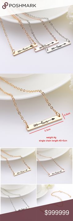 COMING SOON: LOVE Arrow Dainty Pendant Bar Necklac LOVE Arrow Dainty Pendant Bar Necklace 16 inches with 2 inch extender  Available Colors :   - Gold - Silver  - Rose Gold golden threads Jewelry Necklaces