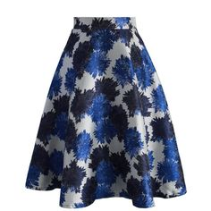 Chicwish Flourish Blossoms A-line Skirt in Blue ($42) ❤ liked on Polyvore featuring skirts, blue, blue a line skirt, floral print skirt, flower skirt, blue knee length skirt and floral skirt