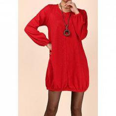 Scoop Neck Plus Size Cotton Blend Solid Color Dress For Women