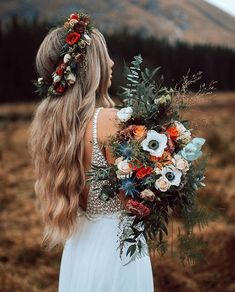 Bohemian fall wedding in the Mountains. Wedding bouquet made with wild, fresh flowers in fall colouring. White Chiffon Long Wedding Dress with White Pearls, Summer Wedding Dress Boho Wedding Dress Fall Wedding Bouquets, Floral Wedding, Wedding Colors, Boho Wedding Flowers, Boho Flowers, Wildflower Wedding Bouquets, Flower Crown Wedding, Fall Bouquets, Rustic Wedding Flowers