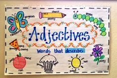 One Fab Anchor Chart: Awesome Adjectives For Sale! Anchor charts are fab for introducing and reinforcing skills. Buy on TPT! anchor chart, One Fab Teacher Adjective Anchor Chart, Grammar Anchor Charts, Anchor Charts First Grade, Kindergarten Anchor Charts, Writing Anchor Charts, Kindergarten Writing, Good Adjectives, You Oughta Know, Classroom Posters