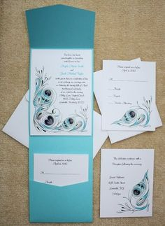 100 Personalized Custom Turquoise Pocket Peacock Bridal Wedding Invitations Set