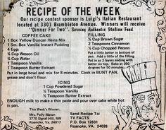 Retro Recipes, Old Recipes, Vintage Recipes, Cookbook Recipes, Baking Recipes, Italian Recipes, Cake Mix Recipes, Dessert Recipes, Desserts