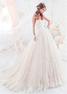 Marvelous Tulle Sweetheart Neckline A-Line Wedding Dresses With Lace Appliques & Beadings