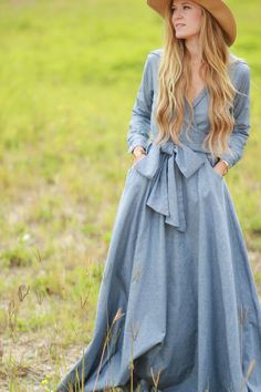 Shabby Apple Chambray Dress. Love the deep v neck. Wonder if it could be done in a shorter length