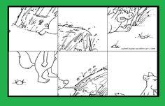 Puzzle para ordenar y colorear de los tres cerditos con 6 y 9 piezas.